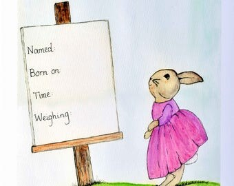 New Born Art Work. An A3 un-mounted print of a vintage classic character viewing a notice announcing a birth.