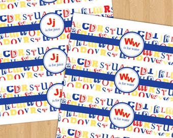 ABC Water Bottle/Juice Box Label -  Printable Instant Download - 8.5 x 2 - alphabet - Red, Blue, Yellow - primary colors