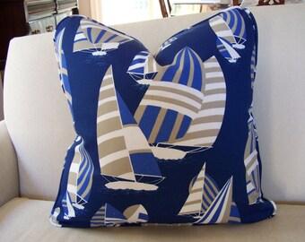 CUSTOM PIPING COLORS!  Outdoor Pillow,  Robert Allen Sailboat Designer Pillow Cover with Piping, Coastal Decor, Nautical Decor, Beach Decor