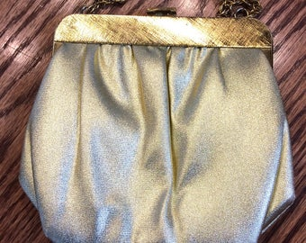 Vintage Ande Gold Lame Evening Bag With Chain