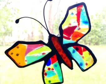 Multicolor Stained Glass Butterfly Suncatcher