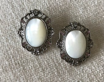 CLEARANCE SALE Mother of pearl filagree earrings