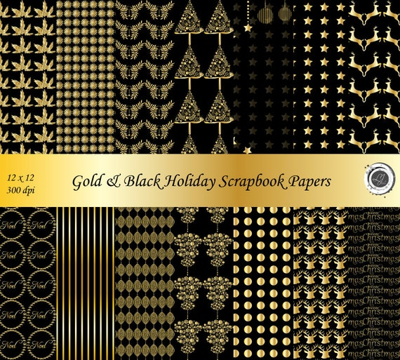 black and gold christmas scrapbooking paper crafts digital paper gold foil holiday. Black Bedroom Furniture Sets. Home Design Ideas
