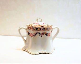 Warwick Porcelain, Covered Sugar Bowl, Porcelain Sugar Bowl, Antique Sugar Bowl, Warwick Sugar Bowl, American made China, Floral Sugar Bowl