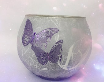 Purple Butterfly Candle Globe. Strawsilk Glass. Christmas Gift.