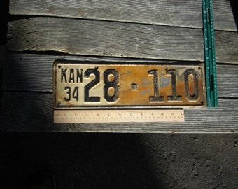 1934 Kansas license plate