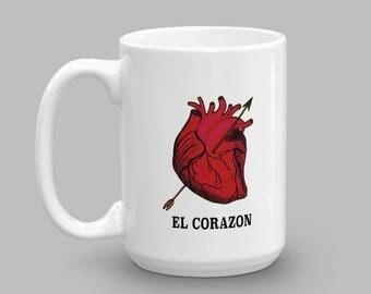 El Corazon Mug - Loteria Print Mug - Mexican Loteria Mug - Occult Mug - Occult Coffee Mug