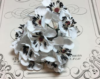 Vintage millinery flower spray white and black