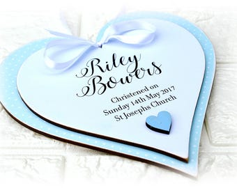 Personalised Christening Heart Plaque