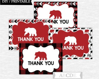 Instant Download Red Black Baby bear Woodland Party Thank You cards Thank You notes Birthday party DIY Printable (SWW101)