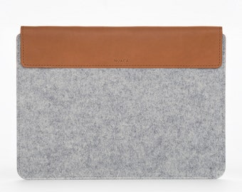 Cover for New MacBook Pro 15  - Protection for Laptop - Cover Case Felt - Macbook Pro Cover - Felt and Leather Sleeve - Grey
