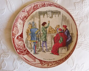 Antique Joan Of Arc Faience Plate, The Trial At Rouen, By Utzschneider & Cie Sarreguemines, Very Rare Perfect Example, Circa 1881