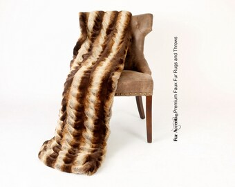 Luxurious Faux Fur Throw Blanket  - Tan and Brown Stripe Chinchilla Tisseval - Silky Soft Minky Cuddle Fur Back - Fur Accents Designs USA