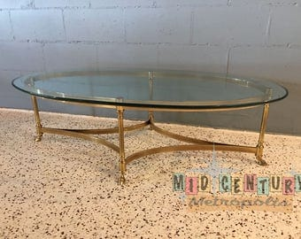 vintage glass coffee table | etsy