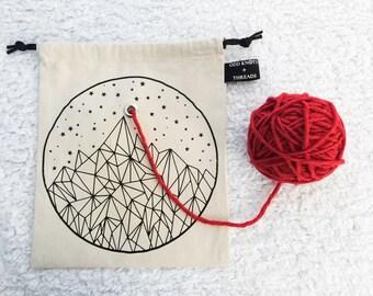 Canvas Yarn Bowl Drawstring WIP Project Bag// GEOMETRIC MOUNTAINS