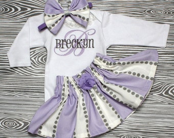 Personalized handmade goods for your little by chesapeakebayby personalized baby girl coming home outfit gray and lavender onepiece skirt bow monogrammed baby shower gift negle Images