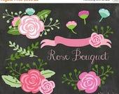 ONE DOLLAR Sale Flowers Clipart - Floral Rose Bouquet Clipart - Chalkboard Vintage Wedding Floral Clip art