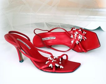 9.5 B Lipstick Red Slingback Heels - CHARLES DAVID -  Fun Retro Strappy Leather Pumps with Red and White Floral Cut-Out Accents