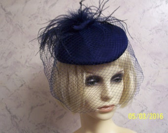 Czarina Beautiful Blue Authentic Vintage Feather Plume/Face Net Hat