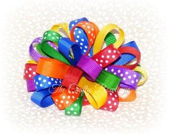 Rainbow Hair Bow ~ Rainbow Loopy Bow ~ Colorful Loopy Bow ~ Polka Dot Loopy Bow ~ Loopy Headband Bow ~ Colorful Hair Bow ~ Rainbow Headband