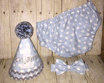 Boys Cake Smash Outfit - Baby Blue Dots - Diaper Cover, Bow Tie & Birthday Hat - Birthday Set - Winter ONEderland - First Birthday Outfit