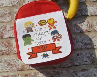 Personalised superhero themed insulated lunch bag with handle and with zip opening / school lunch bag / packed lunch / personalised bag