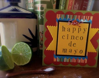 Cinco De Mayo Card Handmade * Cinco De Mayo Party Decor * Cinco De Mayo Greeting Card * Happy Cinco De Mayo * Mexican Blanket * CardsinStock