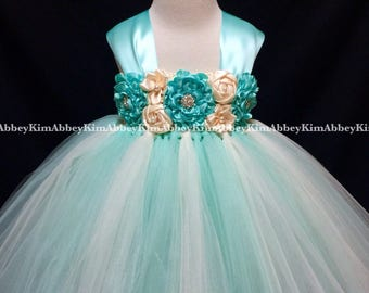 Flower girl tutu dress in ivory and mint