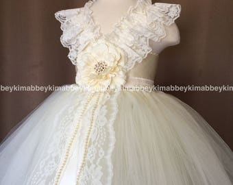 Flower girl tutu dress in ivory