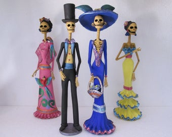 4 CATRINA SET  mexican folk art   day of the dead  catrinas  wholesale lot 16""