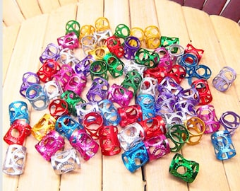 100 colorful Dreadlock Beads Adjustable Hair Braid Cuff Clip Filigree 8mm Hole A216