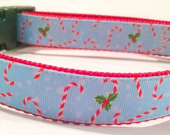 Candy Cane Christmas Dog Collar