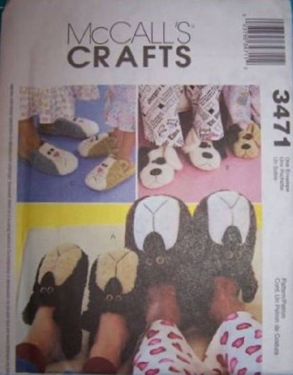 Mccall s crafts 3471 adults and childrens slippers for Dog crafts for adults
