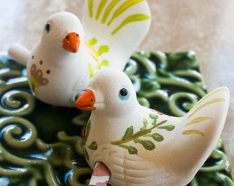"Ceramic pigeon bird love messenger ""San Valentine Day'"