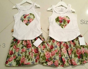 Childrens / Girls handmade skirt and heart top set, tshirt, green floral vintage, summer sets
