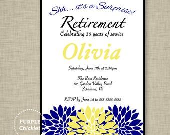Surprise Navy Retirement Party Invitation Navy Blue Yellow Floral Farewell Celebration Invitation Printable Invite 5x7 Digital JPG File 15