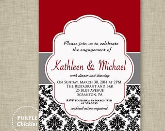 wedding engagement dinner party invitation red black and white damask formal elegant printable diy digital party