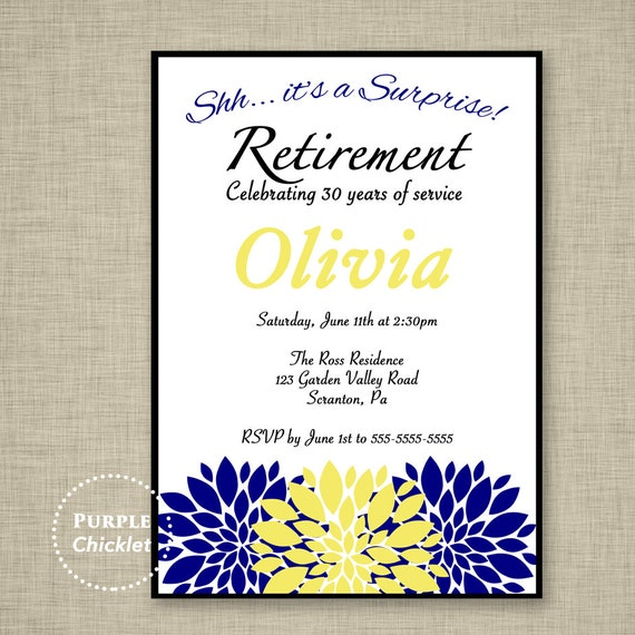 surprise navy retirement party invitation navy blue yellow