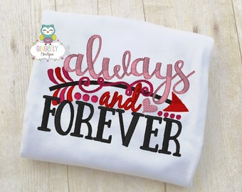 Always and Forever Shirt or Bodysuit, Girl Valentine Shirt, Valentines Day Shirt, Valentines Day Outfit, Girls Heart Shirt
