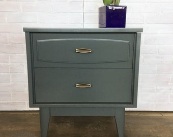 AVAILABLE: Grey Painted MCM Nightstand