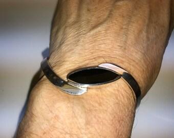 Vintage Sterling Silver  Black Onyx Cuff Bracelet