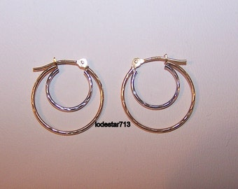 10 K Gold Hoop Earrings, Double Hoops, White and Yellow Gold, Faceted