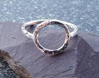 Sterling Silver Ring, Circle Ring, Karma Ring, Boho Ring, Silver Ring