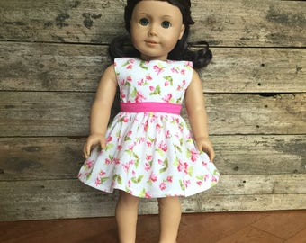 18 Inch Doll Dress, Floral Tank Dress with belt