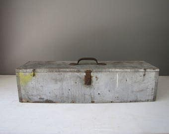 Vintage Tool Box, Wood Tool Tote, Grey Painted Wooden Box