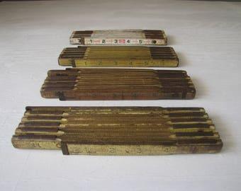 Vintage Wood Rulers / Carpenter Rulers / Lot of 4 / Wood Folding Rulers