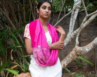 infinite scarf-stole :patchwork of vibrant pink silk