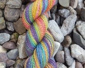 Fruit Salad Hanspun Yarn for Knitting, Crochet, Weaving from Handpainted Fiber of Merino, Bamboo, and Nylon in Rainbow Colors of awesome