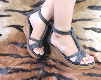 BLACK PLATFORM SHOES / Heeled Leather Sandals / Smart Casual Wedges. Strong Soft Leather. Colors Available / Sizes Usa 6 - 12. Jennifer.