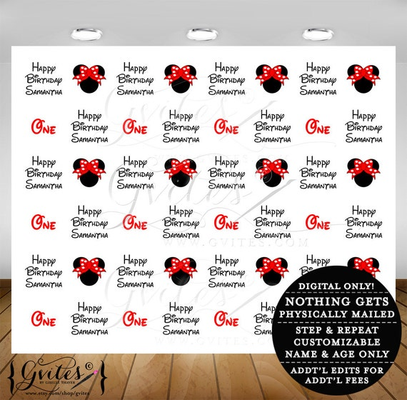 Step and Repeat backdrop, mouse red bow theme step & repeat wall photobooth baby birthday poster, customizable step repeat, 10 feet x 8 feet